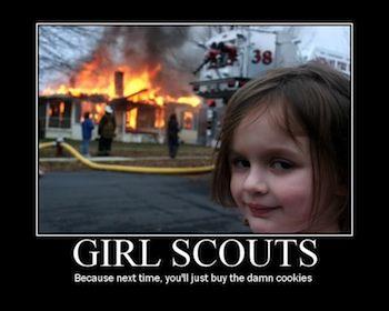 girl burning house