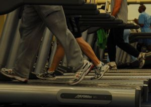 People on treadmills at gym US Air Force wikimedia