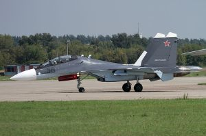Russian Sukhoi SU-30SM fighter. Image by Aktug Ates, wikimedia commons.